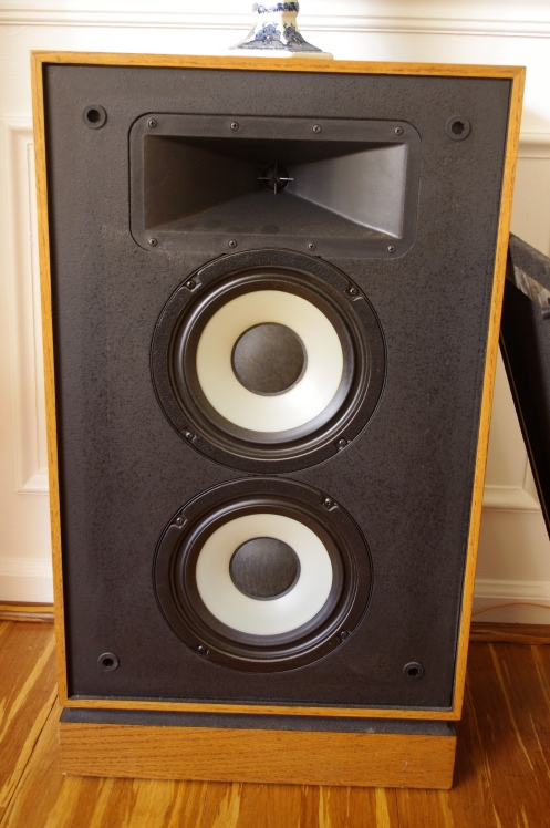 "Klipsch KG4 without its grille. Note double 8"" woofers and classic Klipsch horn."