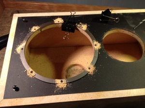 Applying the rings. First thing was to drill new pilot holes