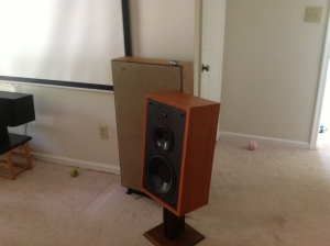 Polk UberMonitor 7 in front of its rival the Boston A200