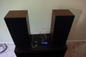 Lepai 2020+ in action with two Polk Monitor 5Bs while the rest of my gear is stored during basement renovation
