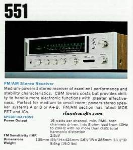 Sansui 551 ad. Courtesy of Classicaudio.com