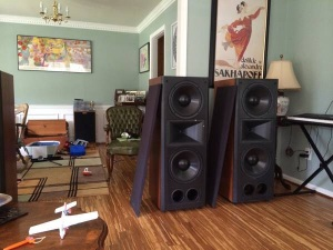 Klipsch CF-4s with the grilles off.