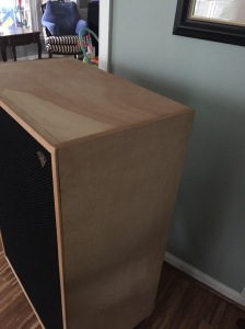 Detail of the Klipsch Cornwall Birch finish. Beautiful after 3 decades