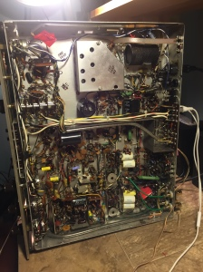 Fisher 500C receiver. View from the underside. No circuit boards here!