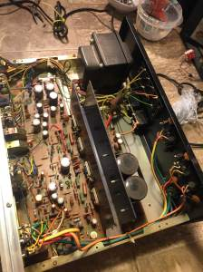 Interior of Pioneer SA-6500ii integrated amplifier. Pretty simple and easy to work on.