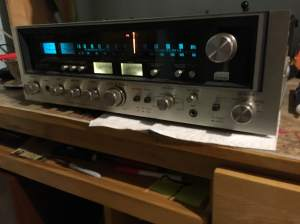 Sansui 7070 receiver after some outpatient circuit surgery to get the lamps glowing